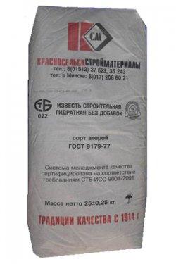 Известь строительная гидратная в мешках по 25 кг